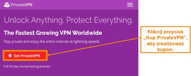Zrzut ekranu ekranu głównego PrivateVPN z rozszerzeniem
