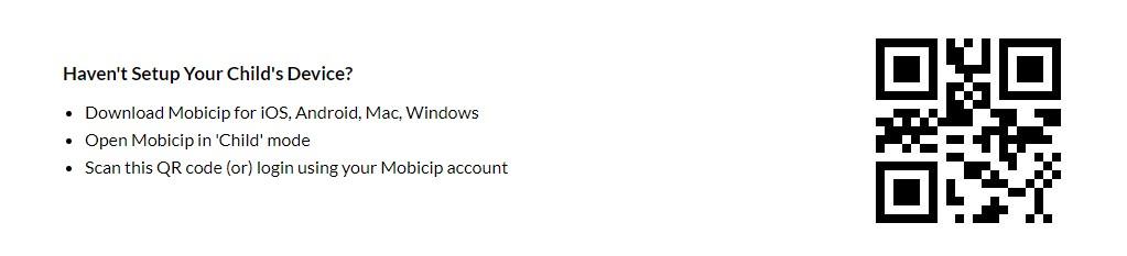 QR code to setup Mobicip
