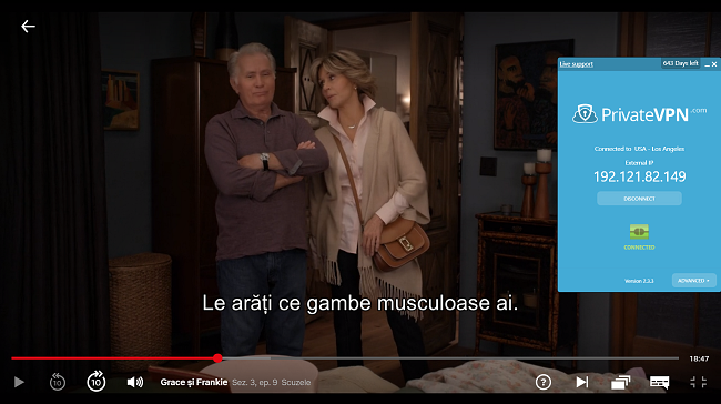 """Captură de ecran a Bypass Netflix Proxy Error cu PrivateVPN """"Grace și Frankie"""""""
