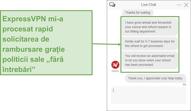 Captură de ecran a rambursării ExpressVPN prin chat live.