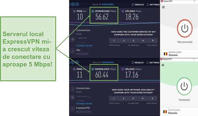Captură de ecran a creșterii vitezei cu ExpressVPN.