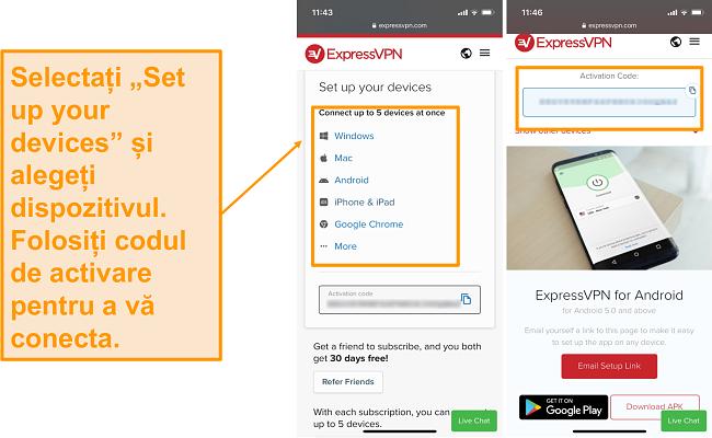 Captură de ecran a dispozitivului mobil ExpressVPN configurat.
