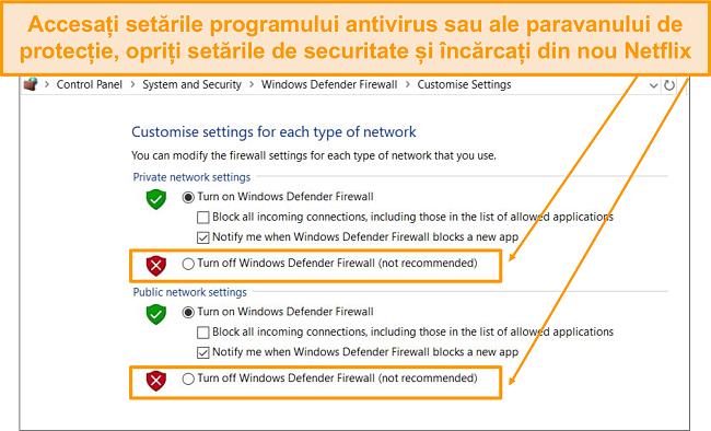 Captură de ecran a firewall-ului și a setărilor de securitate.