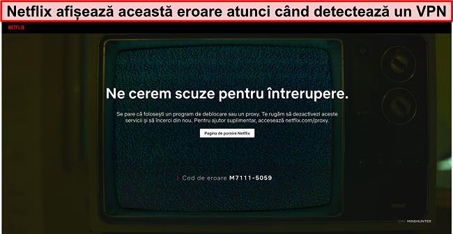 Screenshot al mesajului de eroare Netflix când utilizați un VPN, proxy sau unblocker - Cod de eroare: M7111-5059