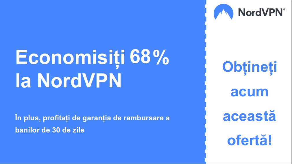 graficul banner-ului cuponului principal Nordvpn cu 68% reducere