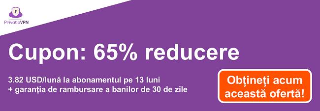 Graficul unui cupon PrivateVPN funcțional, cu 65% reducere la un abonament de 13 luni și o garanție de 30 de zile de returnare a banilor