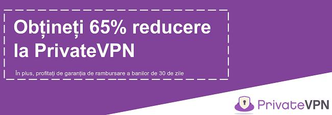 Graficul unui cupon PrivateVPN funcțional care oferă o reducere de 65% cu o garanție de 30 de zile de returnare a banilor