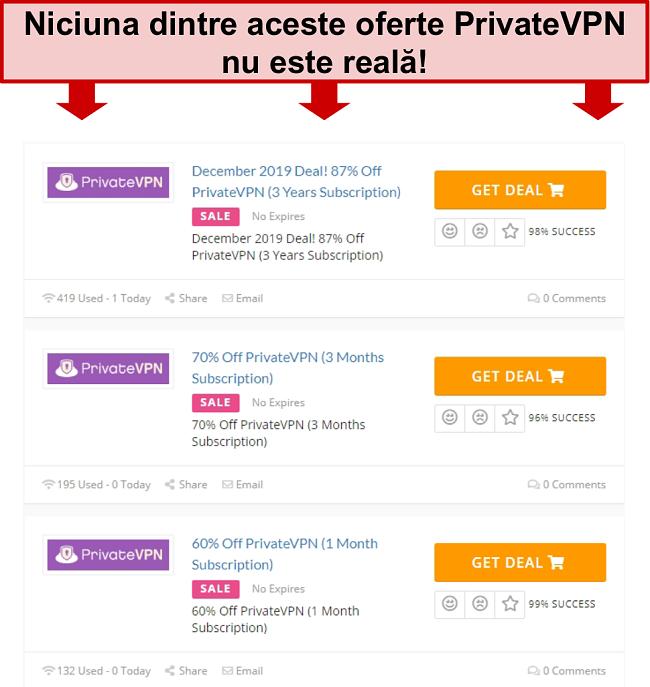 Captură de ecran a ofertelor PrivateVPN care arată prețuri false