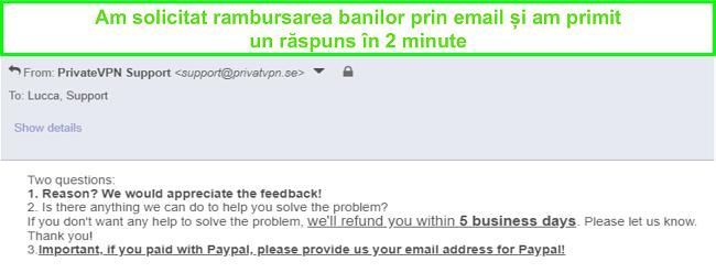 Captură de ecran a PrivateVPN care răspunde rapid la solicitarea mea de rambursare prin e-mail
