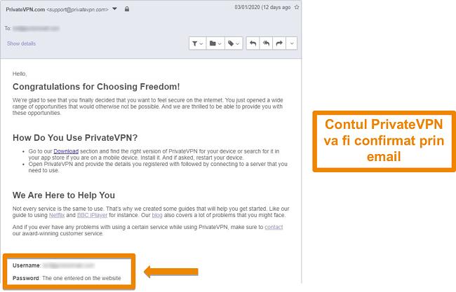 Captură de ecran a unei confirmări prin e-mail PrivateVPN după înscrierea la un cont