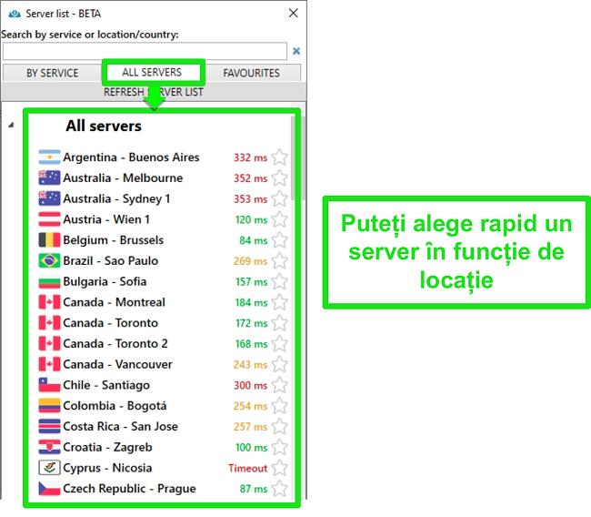 """Captură de ecran a locațiilor serverului PrivateVPN din lista """"Toate serverele"""""""