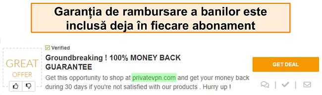 """Captură de ecran a unui cupon PrivateVPN care promovează o garanție de restituire a banilor ca """"afacere"""""""