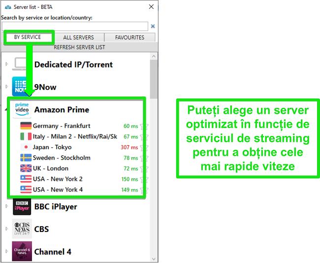 Captură de ecran a opțiunilor serverului de streaming pentru PrivateVPN