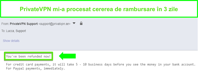 Captură de ecran a răspunsului PrivateVPN după procesarea rambursării