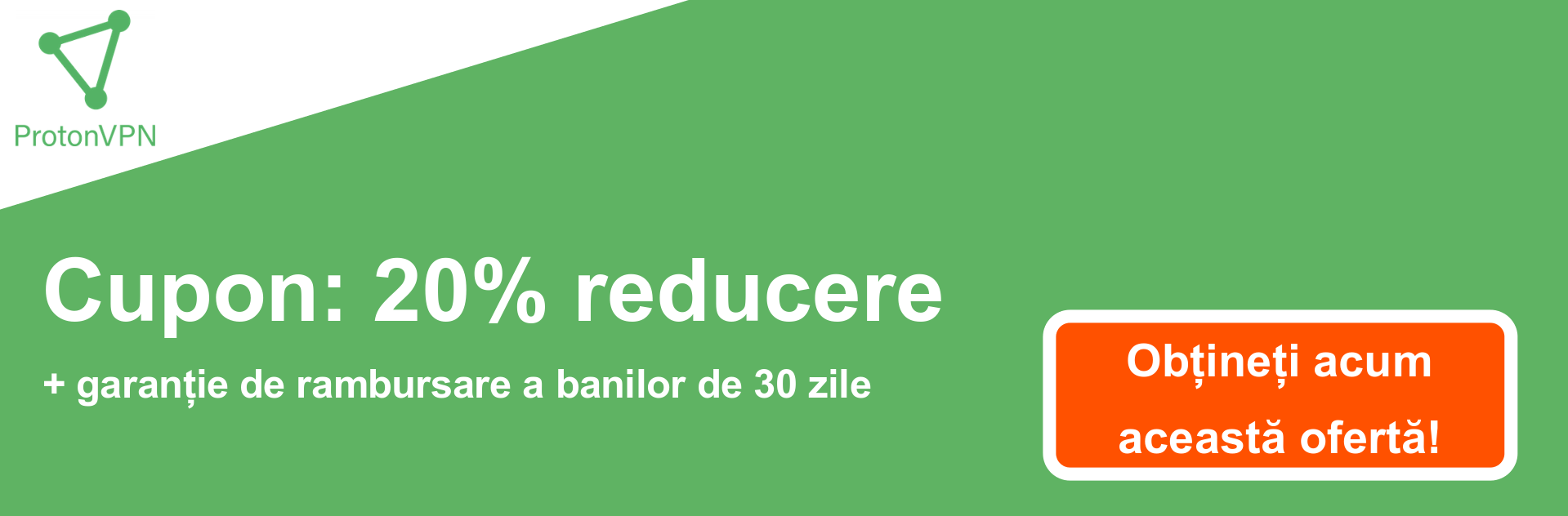 Banner cupon ProtonVPN - 20% reducere