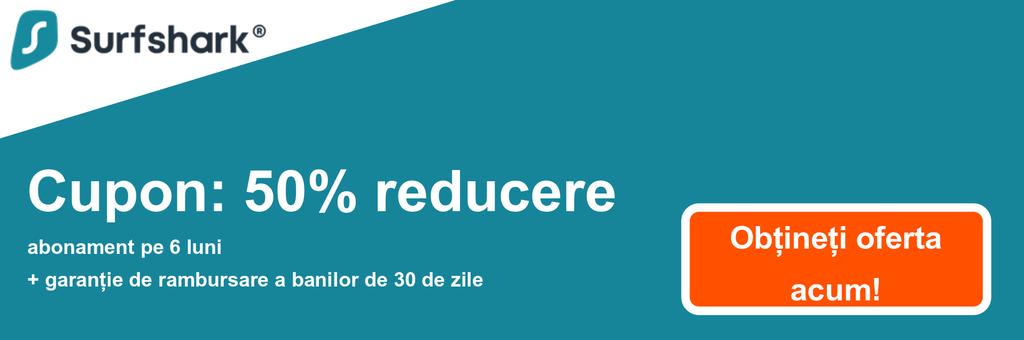 Graficul bannerului cuponului Surfshark cu reducere de 50%