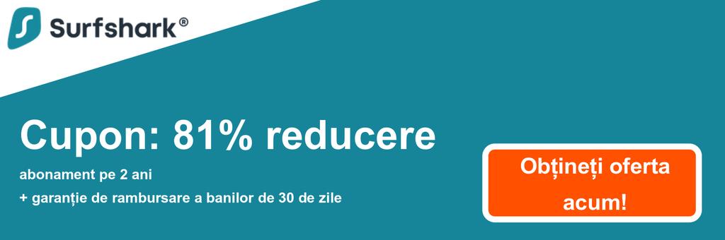 Graficul bannerului cuponului Surfshark cu 81% reducere de 2,49 USD / lună pentru un plan de 2 ani