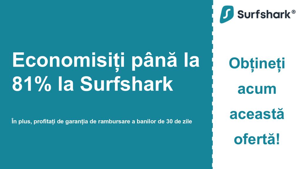 Graficul bannerului cuponului principal Surfshark VPN care afișează 2,49 USD pe lună