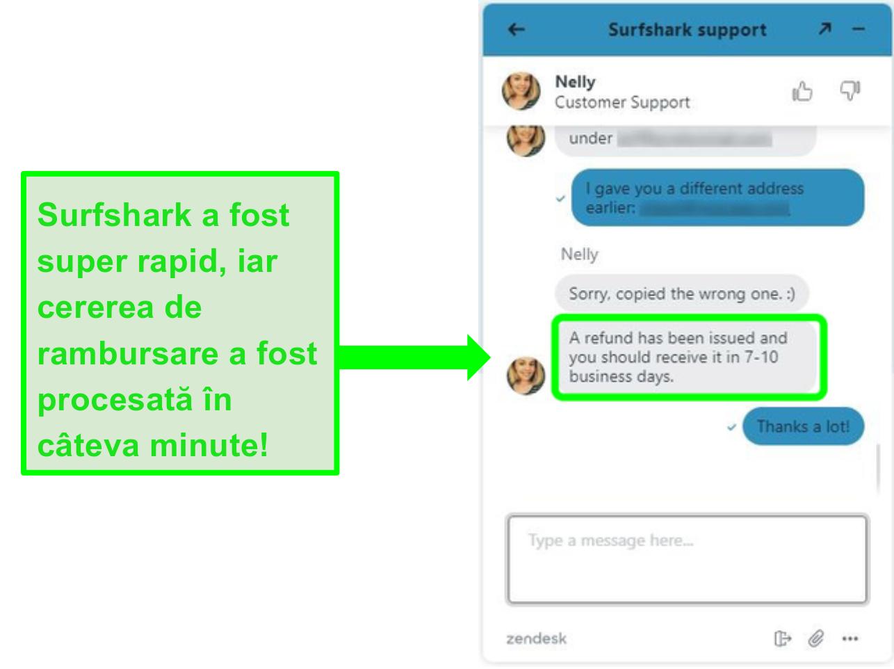 Solicitarea unei rambursări prin chatul live al Surfshark