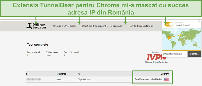 Screenshot of DNS leak test results when connected to TunnelBear.