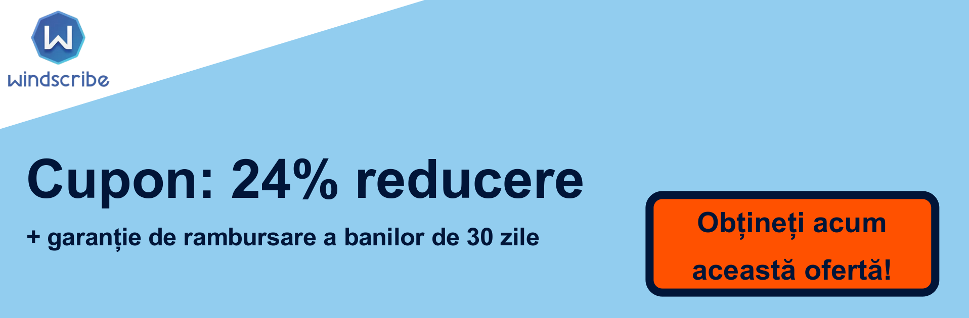 Banner cupon VPN WindScribe - 24% reducere