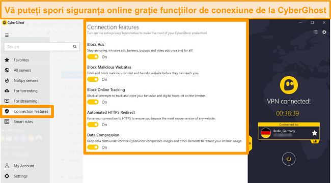 Captură de ecran a funcțiilor de conexiune CyberGhost pentru a îmbunătăți securitatea online