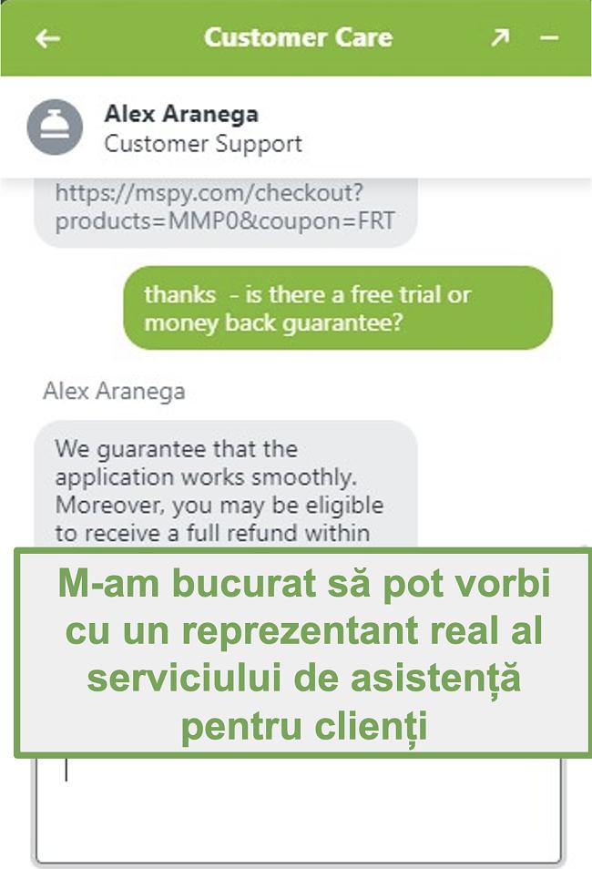 Captură de ecran a chatului cu un agent real de asistență pentru clienți