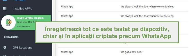 Captură de ecran a jurnalelor din aplicații criptate precum WhatsApp