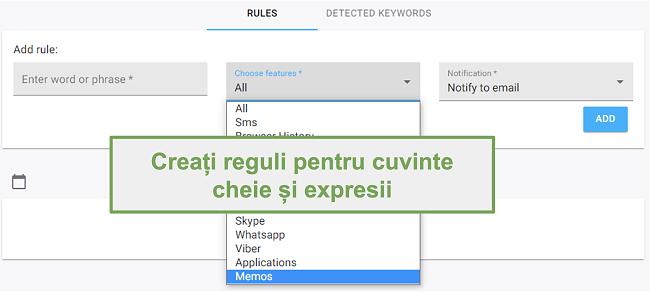 Captură de ecran a regulilor pentru cuvinte cheie și fraze