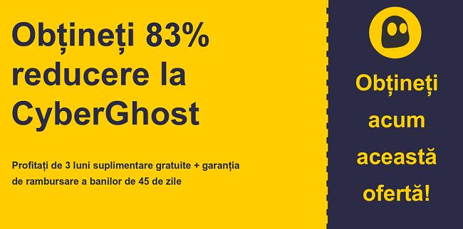 graficul cu banner-ul cuponului principal CyberGhostVPN cu 83% reducere