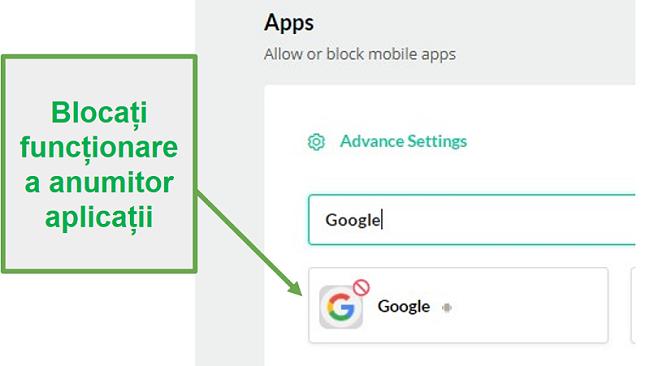 Mobicip blochează aplicațiile