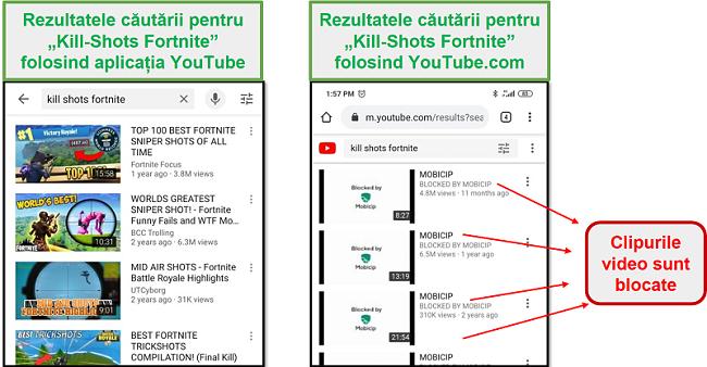Mobicip blochează YouTube