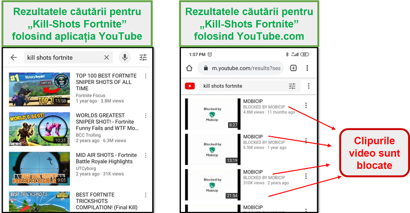 Mobicip blochează YouTube