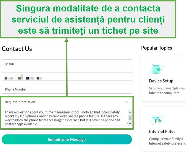 Serviciul pentru clienți Mobicip