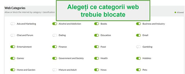 Categorii web Mobicip