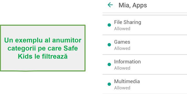 Categorii de filtre Safe Kids