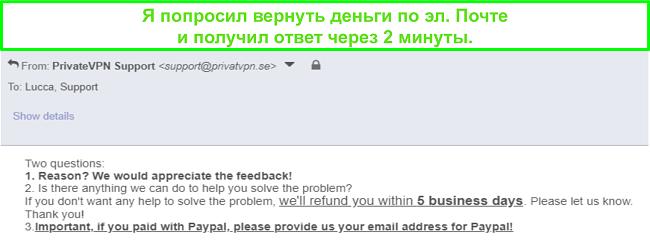 Снимок экрана PrivateVPN, который быстро отвечает на мой запрос на возврат по электронной почте