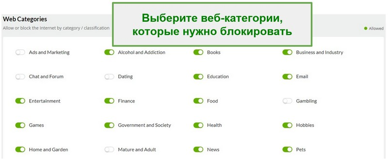 Веб-категории Mobiicip