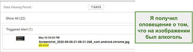 Скриншот предупреждений WebWatcher из изображений