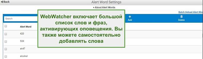 Скриншот слов предупреждения Webwatcher