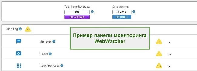 Скриншот панели управления Webwatcher