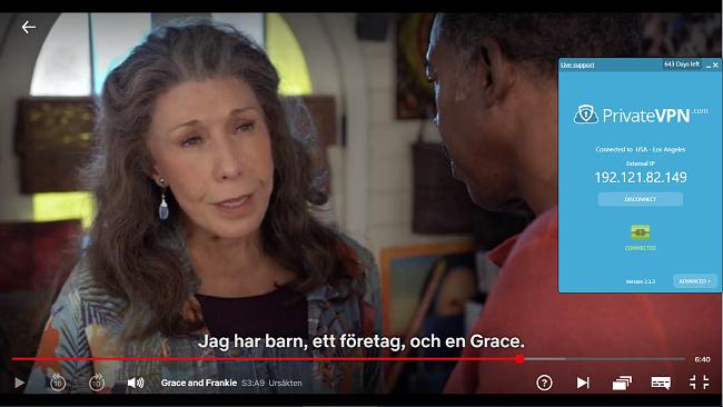 Skärmdump av PrivateVPN ansluten till amerikansk server med Grace och Frankie-streaming på Netflix USA