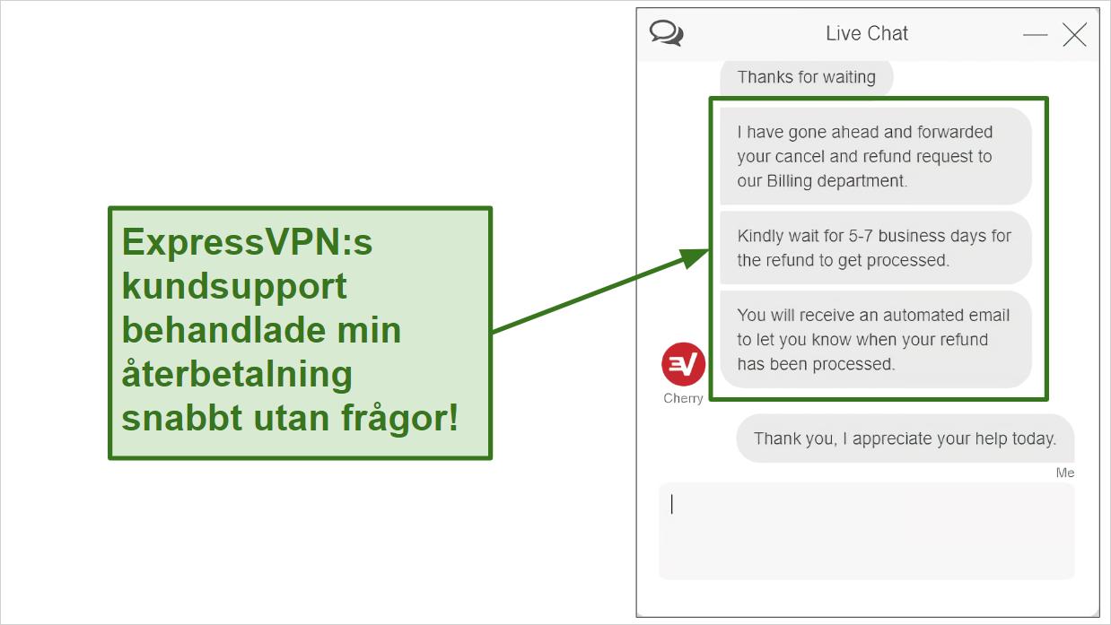Skärmdump av ExpressVPN-begäran om återbetalning via livechatt