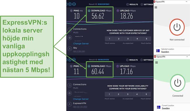 Skärmdump av höjda hastigheter med ExpressVPN.
