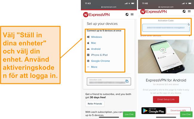 Skärmdump av ExpressVPN-mobilenhet.