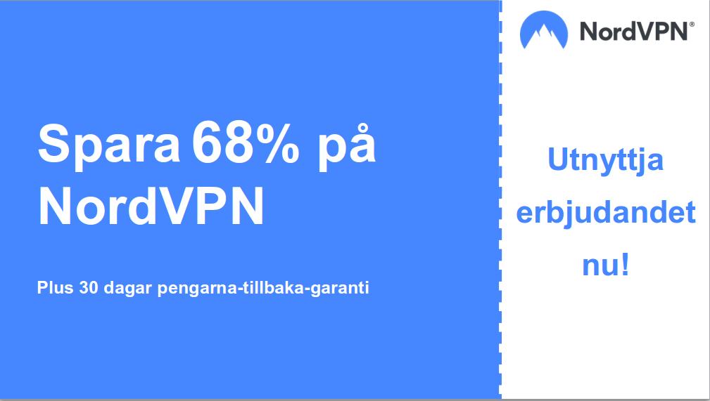 bild av Nordvpns huvudkupongbaner med 68% rabatt