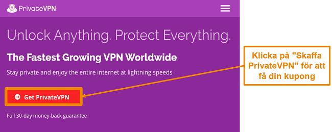 Skärmdump av PrivateVPNs startskärm med en