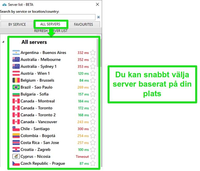 Skärmdump av PrivateVPN-serverplatser under listan