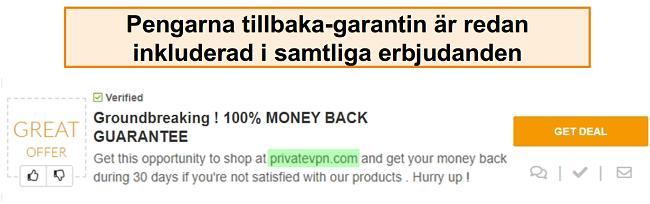 Skärmdump av en PrivateVPN-kupong som annonserar en pengarna-tillbaka-garanti som en