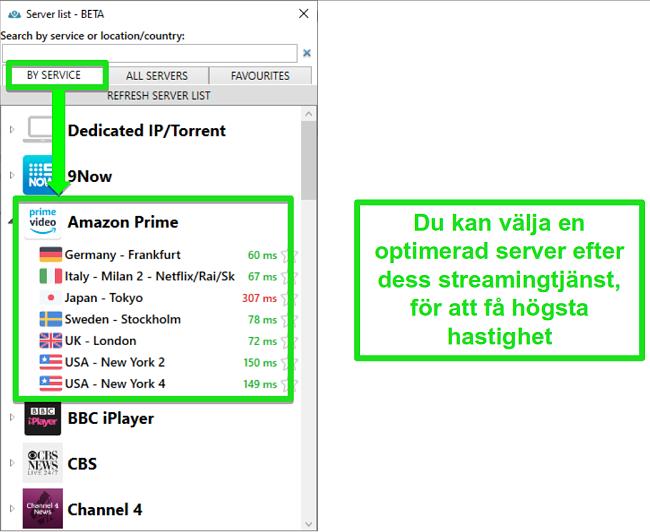 Skärmdump av strömmande serveralternativ för PrivateVPN